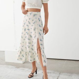 NWT & Other Stories Side Slit Linen Midi Skirt